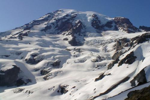 Looking back up Rainier after the climb