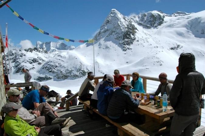 Afternoon on the deck of the Dix Hut.  Alps, Haute Route